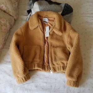 Cropped teddy jacket